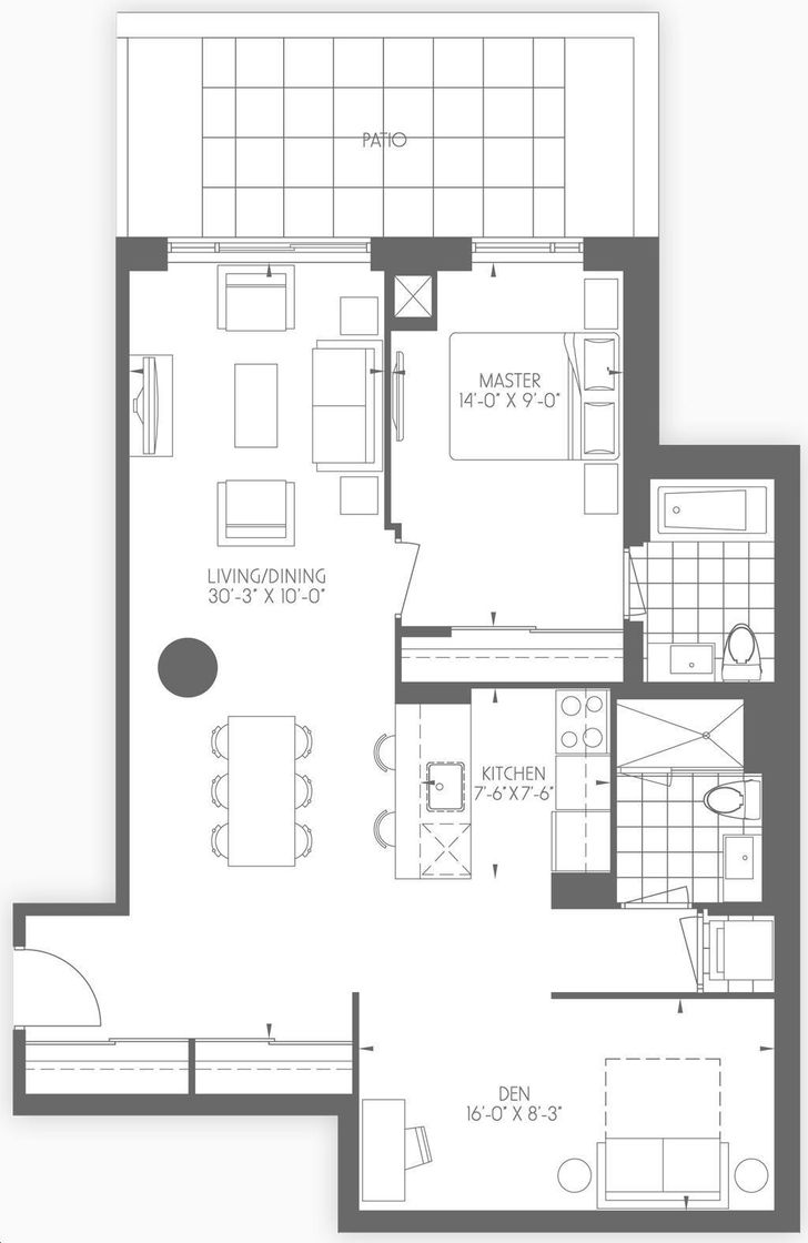 Dream Tower at Emerald City 1 bed, 2bath, den