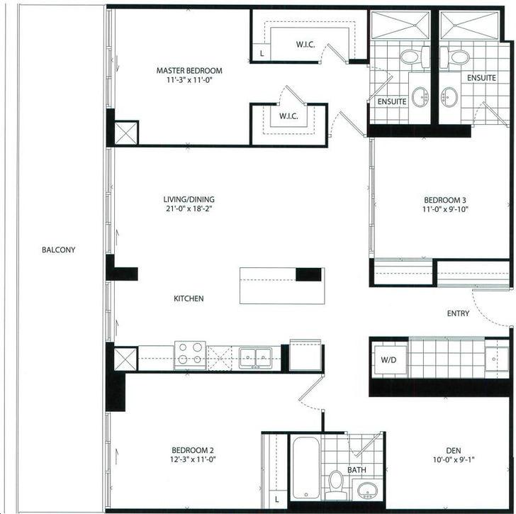 The Barrington Condos 3 bed + 2 bath + Den