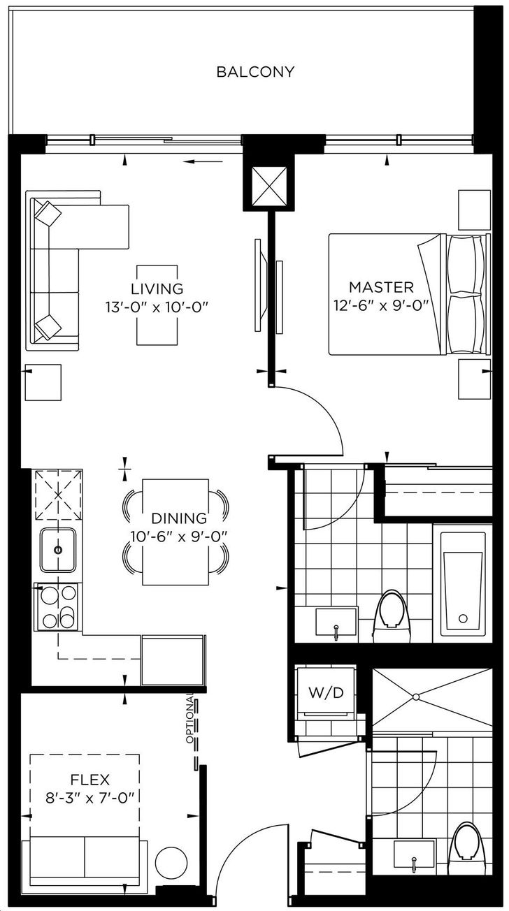 The Point at Emerald City 1 bed, 2 bath