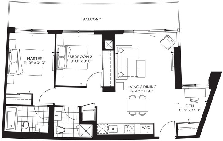 The Point at Emerald City 2 bed, 2 bath, den