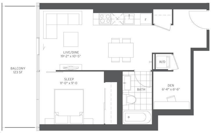 155 Redpath Condos 1 bed, 1 bath, den
