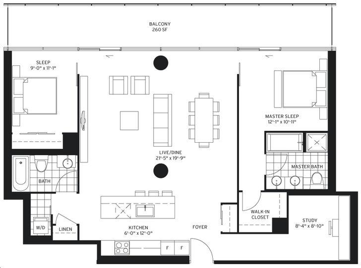 155 Redpath Condos 2 bed, 2 bath, den