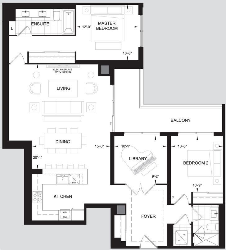 Leaside Manor 2 bed, 2 bath, den