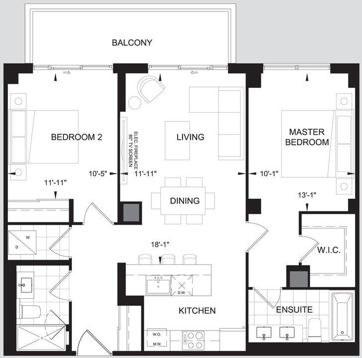 Leaside Manor 2 bed, 2bath