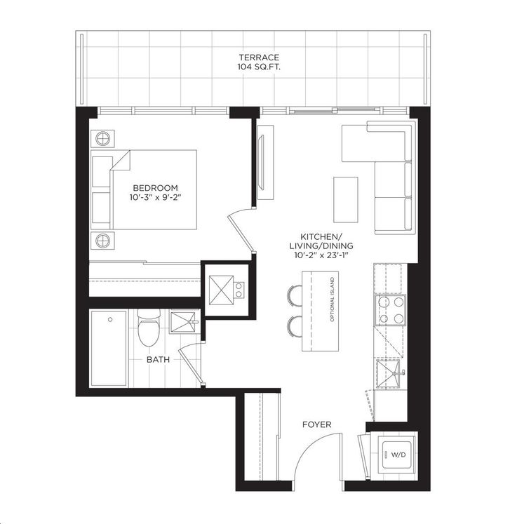 South Tower at the Buckingham 1 bed, 1 bath, den