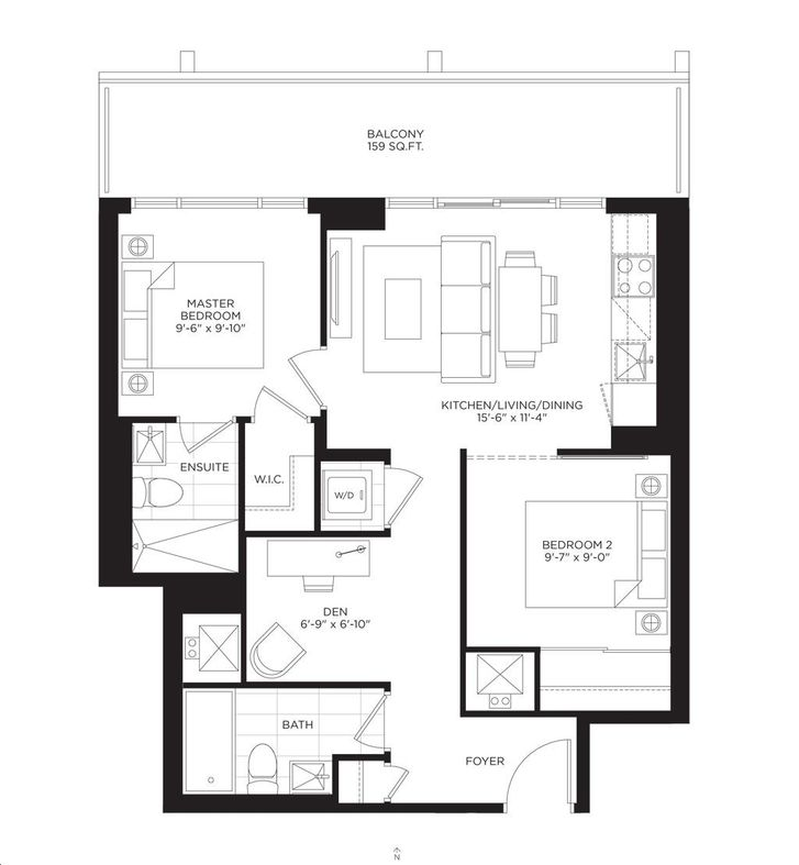 South Tower at the Buckingham 2 bed, 2 bath, den