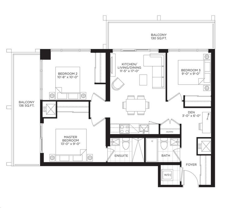 South Tower at the Buckingham 3 bed, 2 bath, den