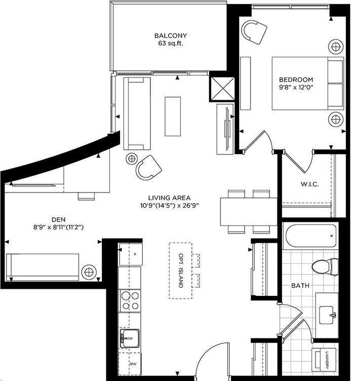 The Craftsman Condominium Residences 2 bed, 1 bath. den