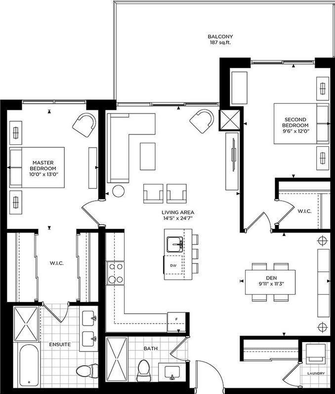The Craftsman Condominium Residences 2 bed, 2 bath, den