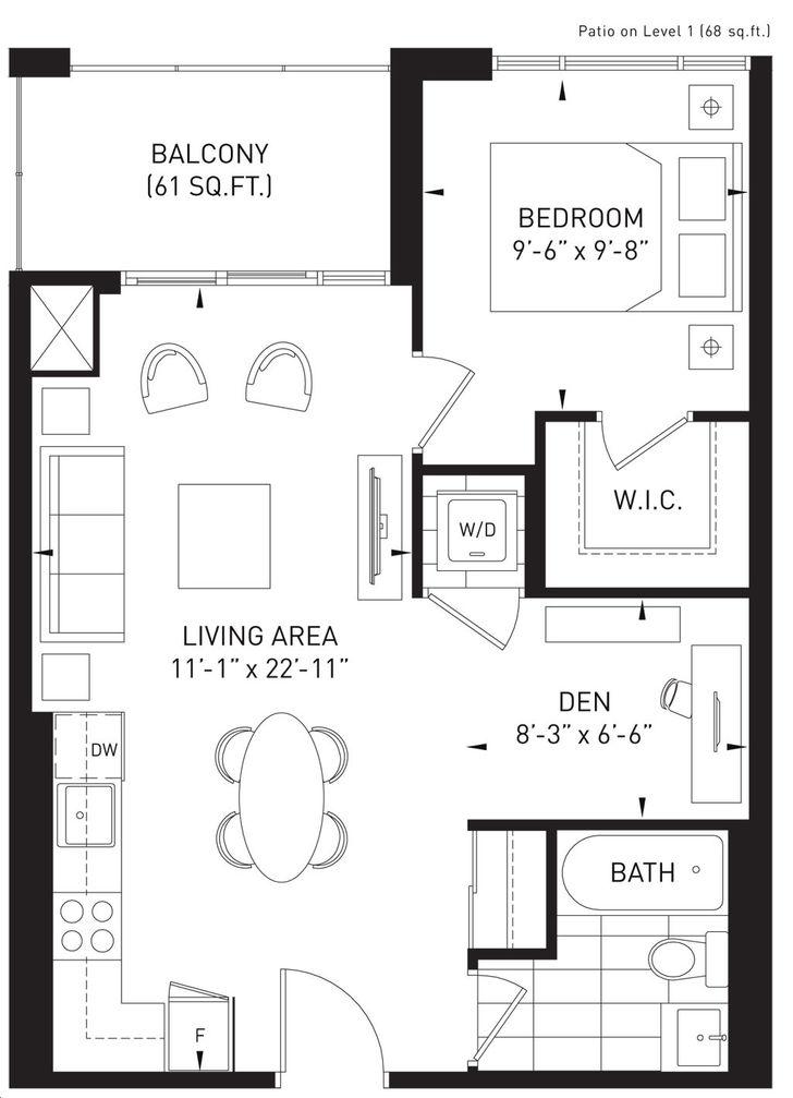 The Queensview at Backyard Condos 1 bed, 1 bath , den true