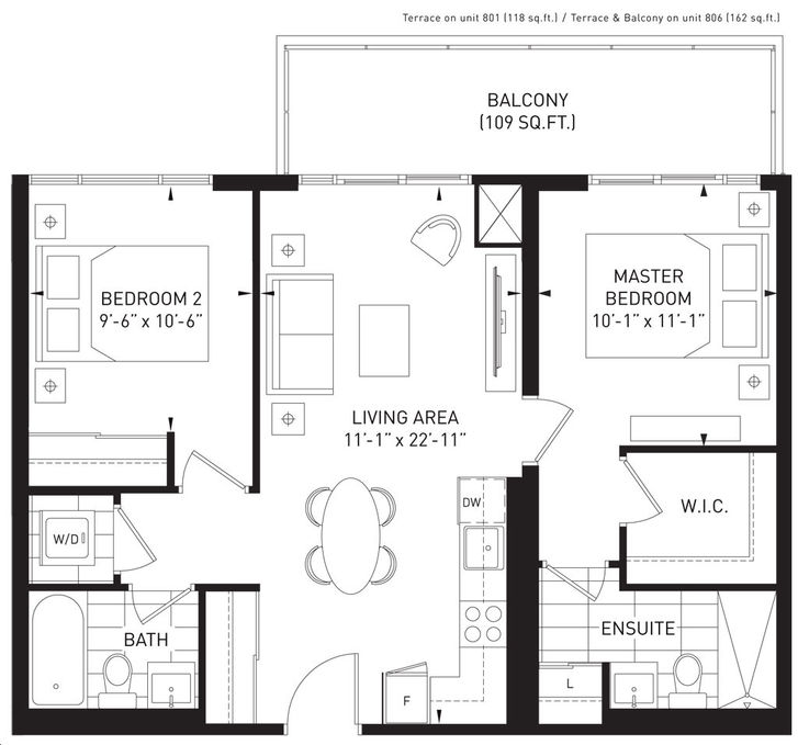 The Queensview at Backyard Condos 2 bed, 2 bath