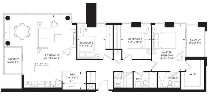 The Queensview at Backyard Condos 3 bed, 2 bath, den